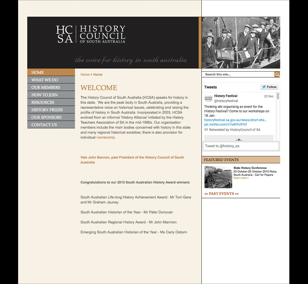 History Council of South Australia (HCSA) : Website