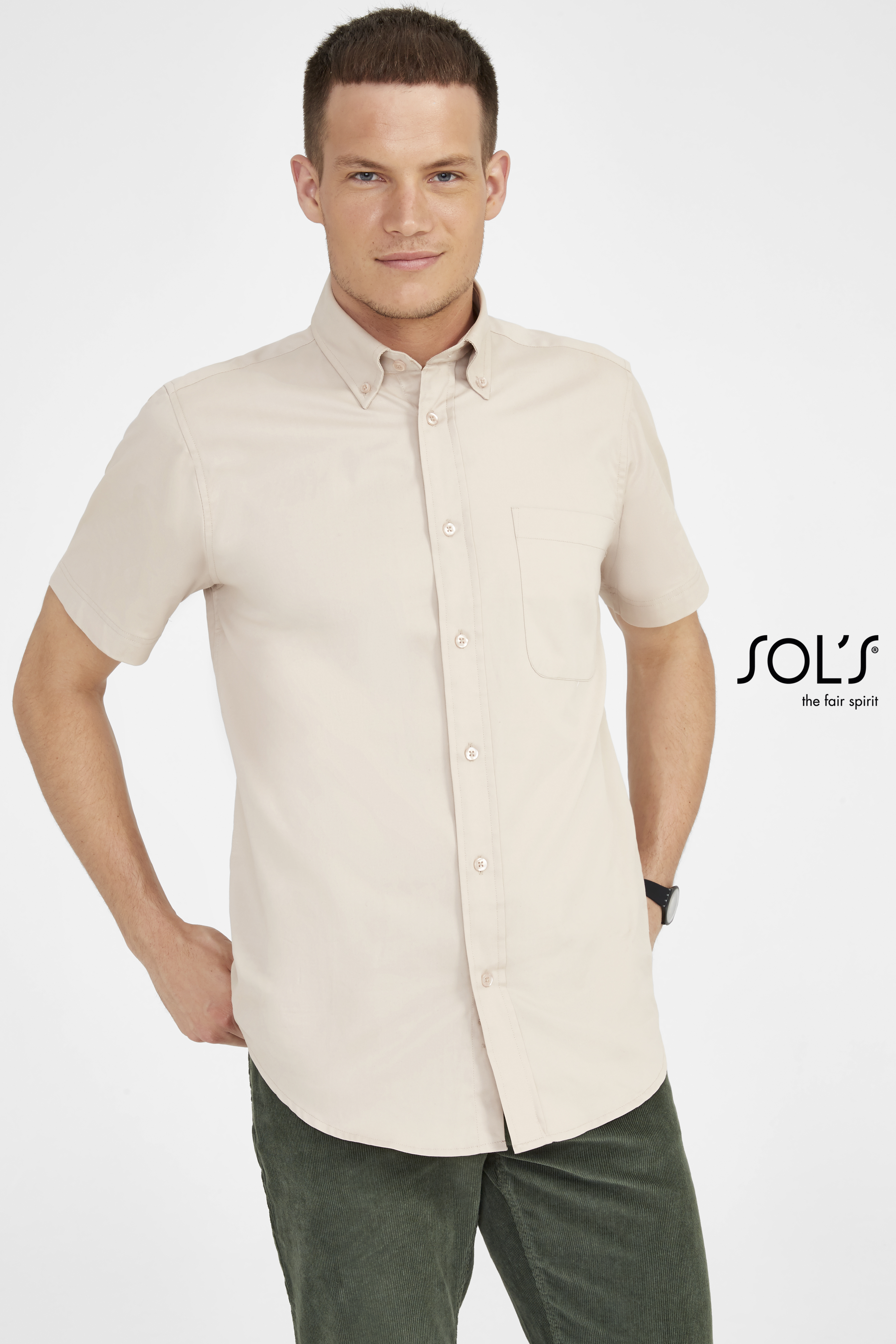 CHEMISE HOMME MANCHES COURTES EN TWILL SOL'S BROOKLYN
