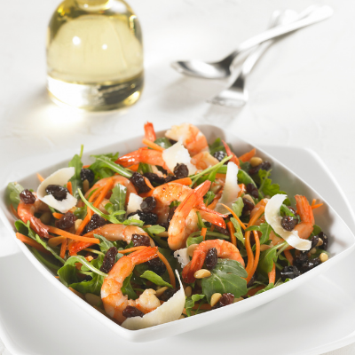 California Rocket Salad with Honey Prawns