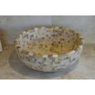 Mixed Mosaics Curved Travertine Basin
