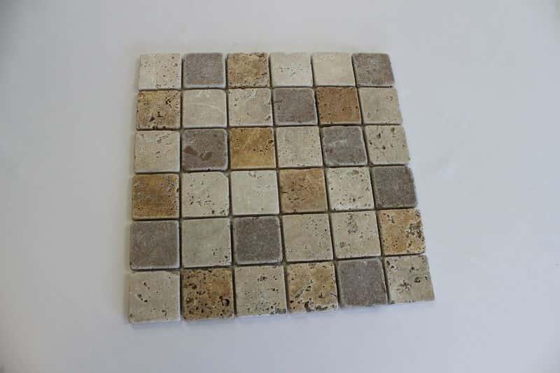 Mixed Tumbled Travertine Mosaics