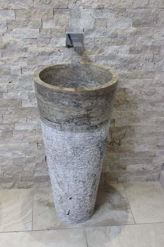 Silver Travertine Pedestal Basin