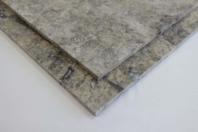 Silver Travertine Filled and Honed