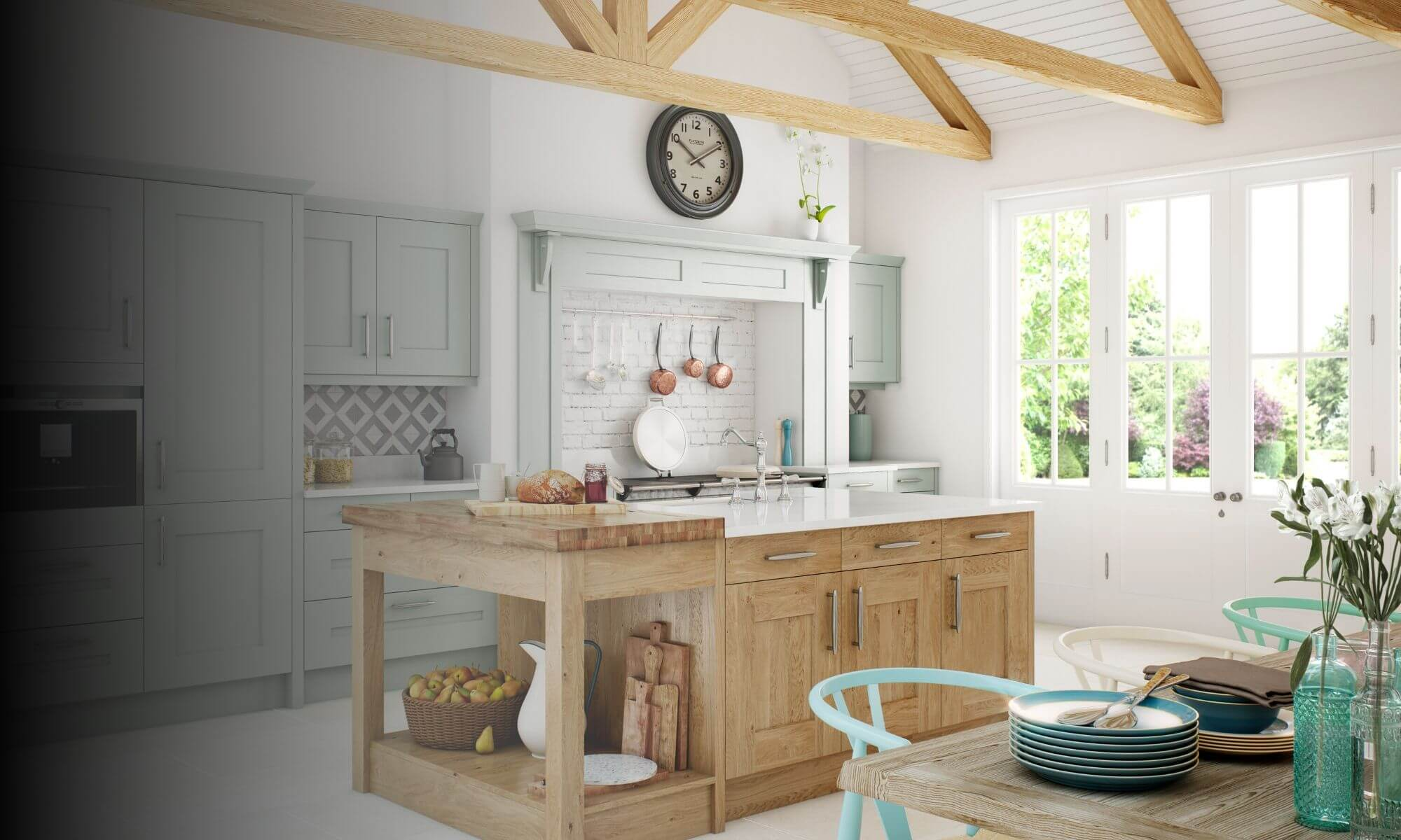 Traditional kitchen with wooden island