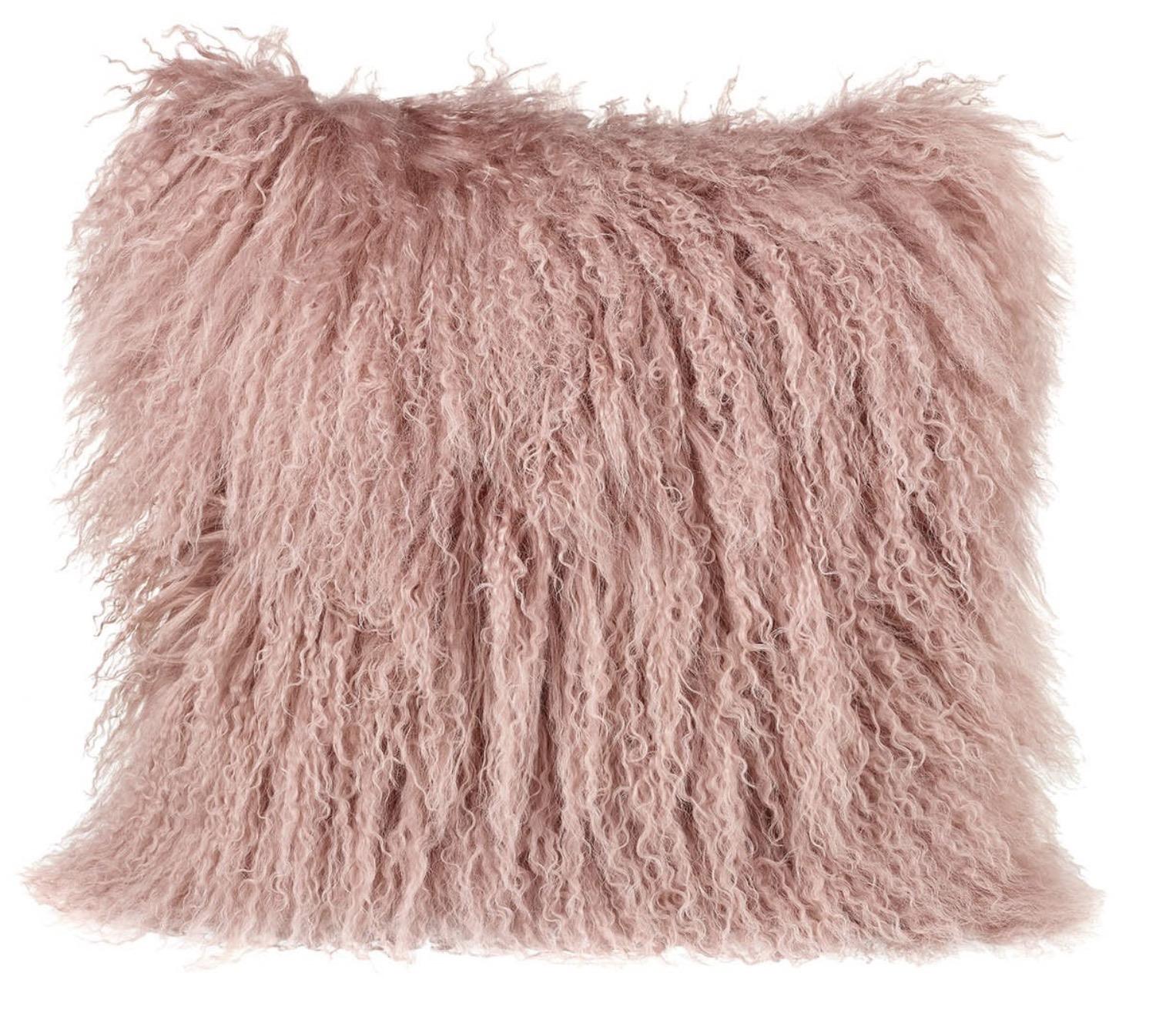 Tibetan wool cushion in pink