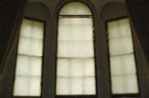 3 tall windows with check action blinds