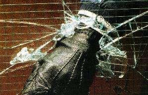 Safety window film breakage