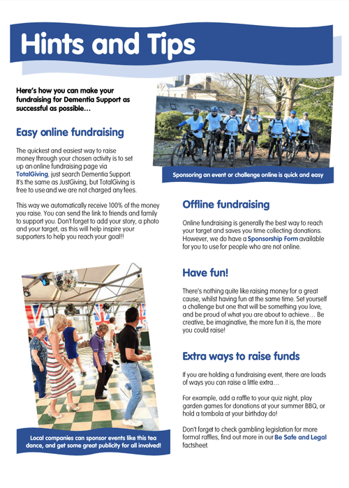 Fundraising hints and tips
