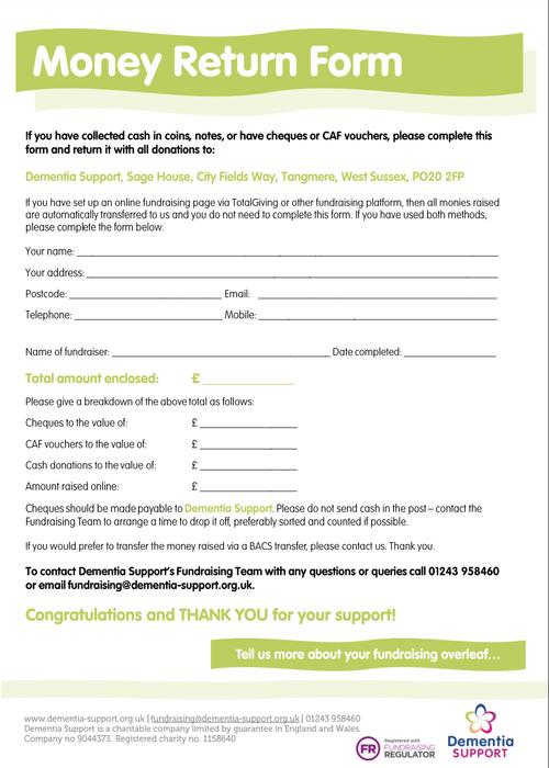 Fundraising money return form
