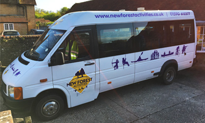 Mini bus hire available for groups looking for fun activities for adults in The New Forest.