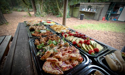 Buffet lunch available for groups looking for fun activities for adults in The New Forest.