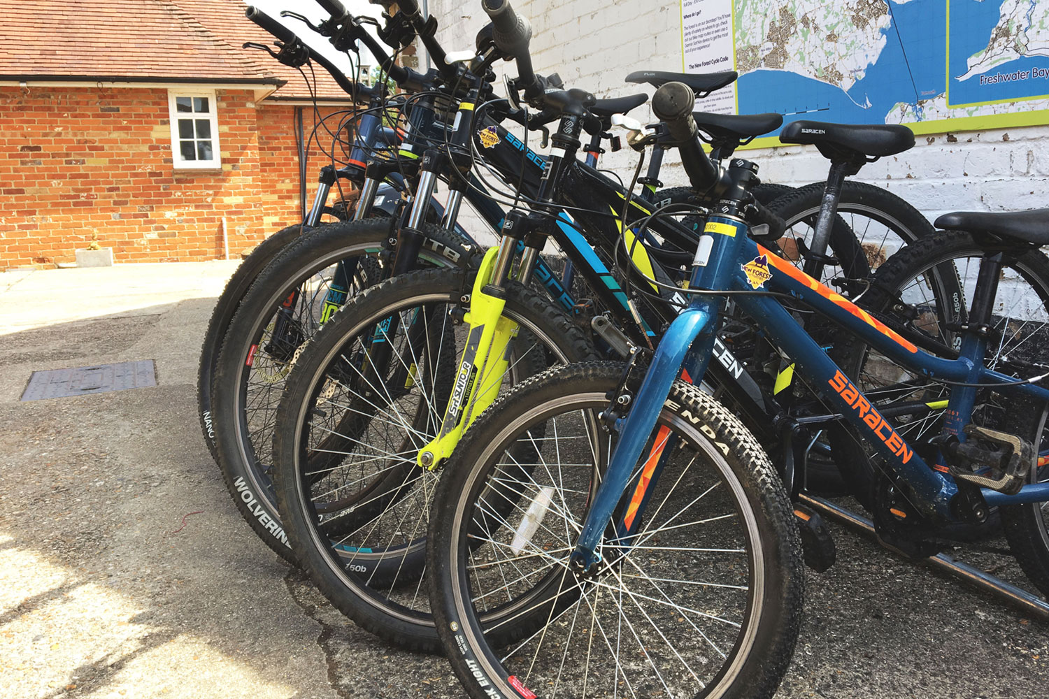 The range of bikes available as part of full day bike hire.