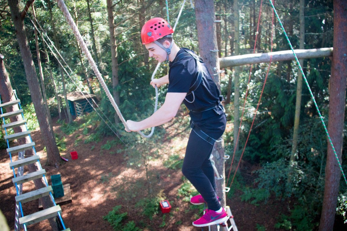 Kids Parties up in the trees on our Ropes Course.