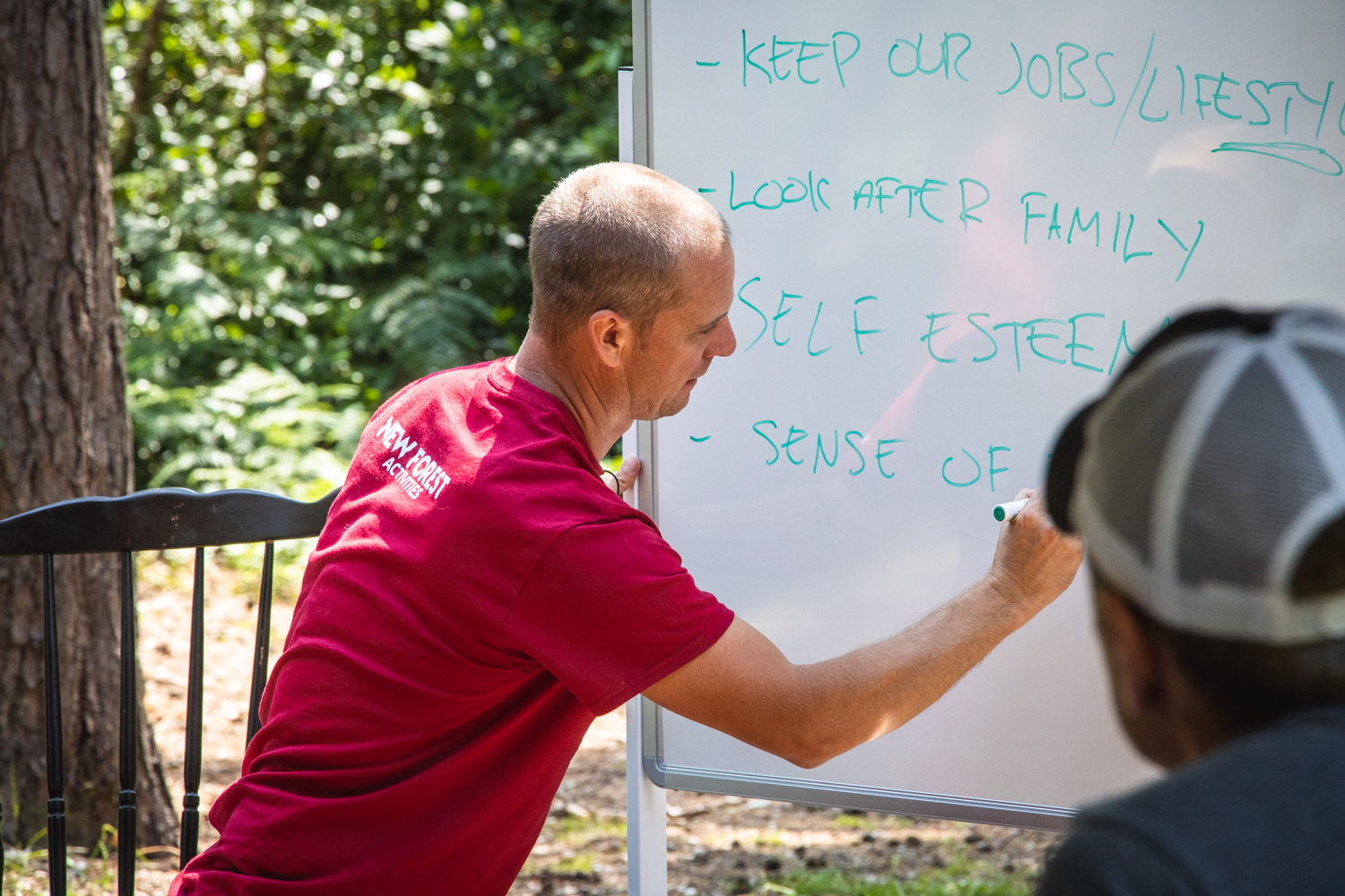 Business coaching taking place in the great outdoors during a back to business team building day