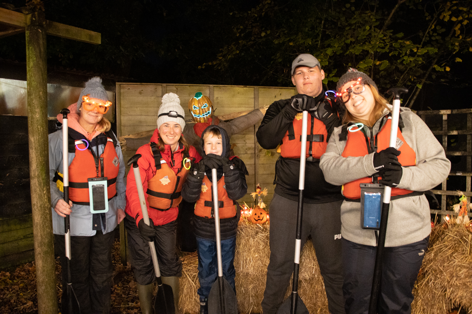 A group before they head out on their Spooky Halloween River Tour.