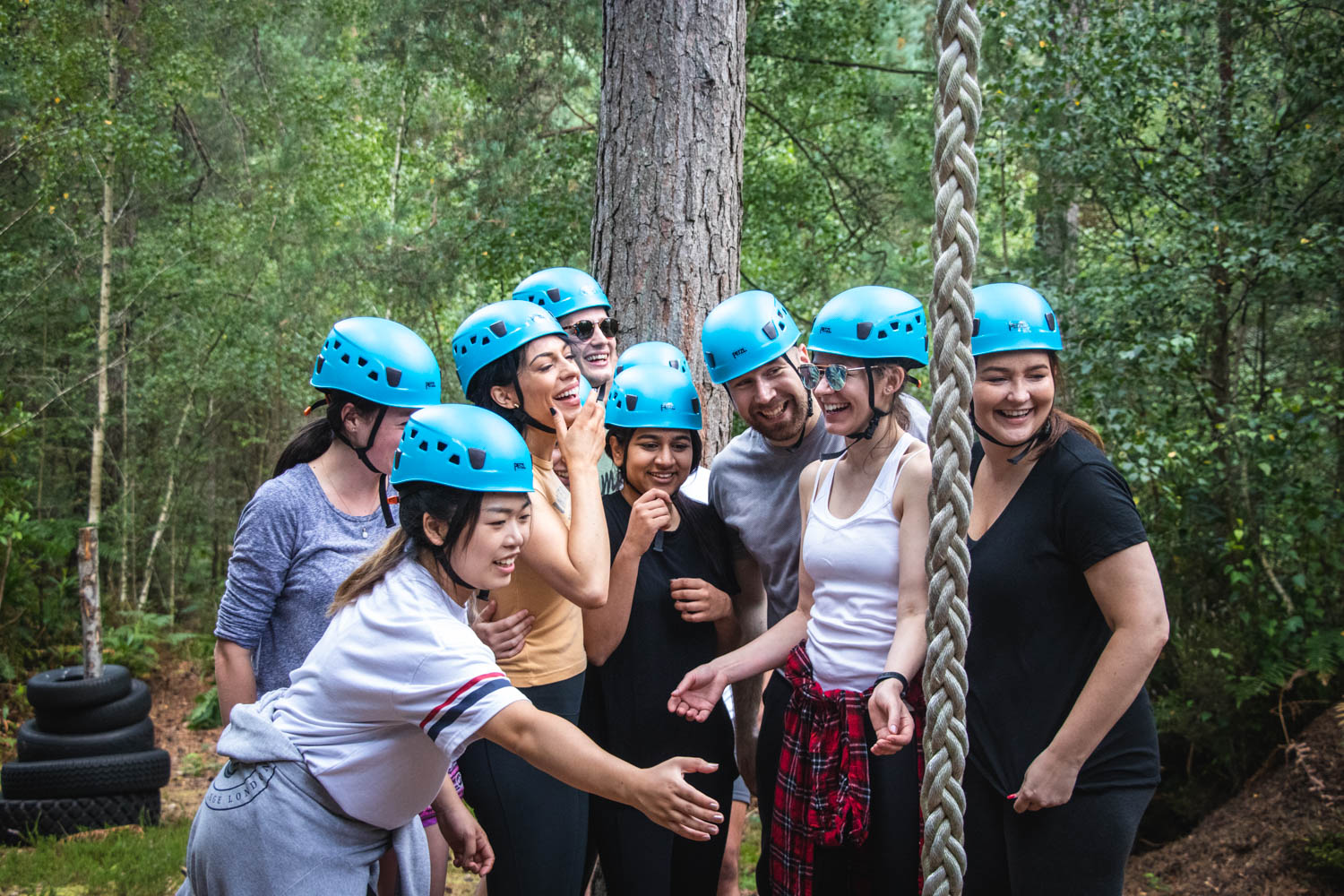 A team enjoying fun team building activities in The New Forest
