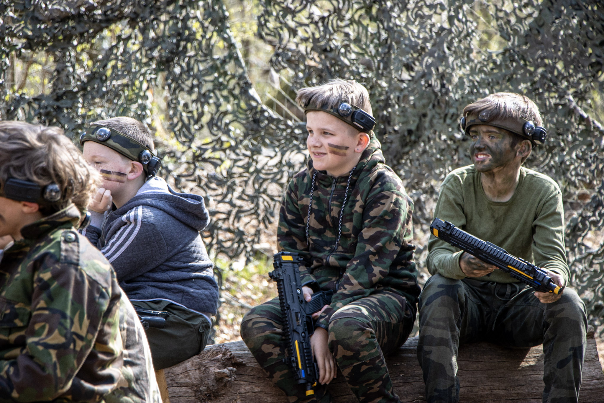 A group of boys enjoying a BattleZone kids party in The New Forest