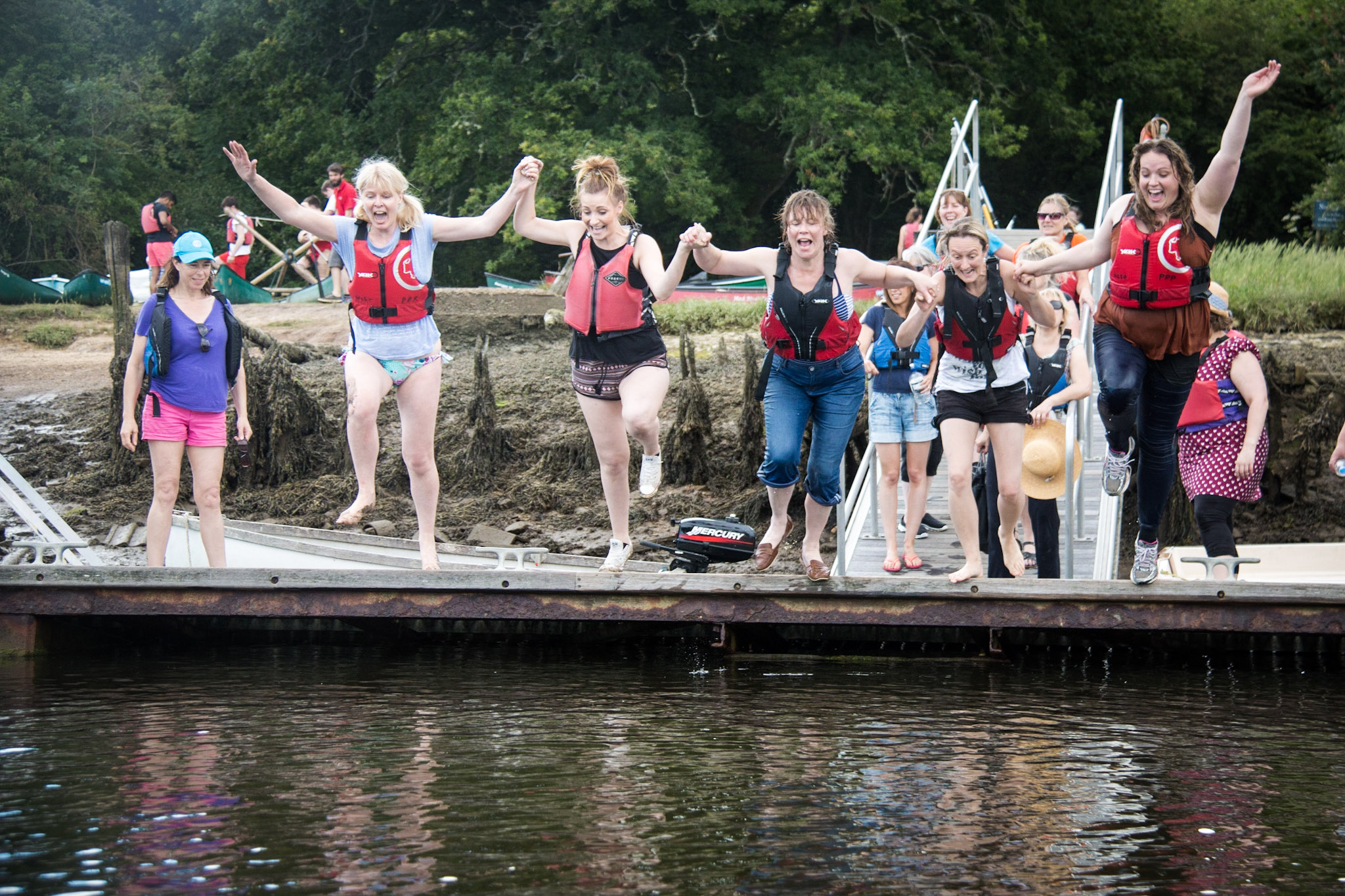 Hen party jumping into river