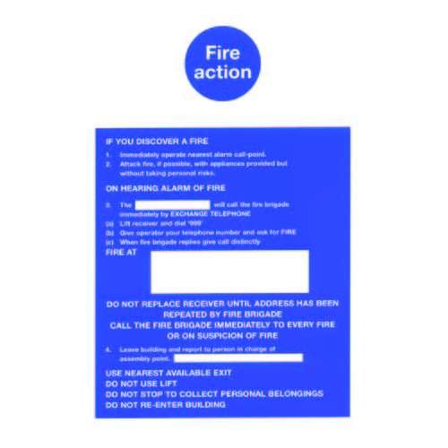 FS33 300 X 200MM FIRE ACTION NOTICE