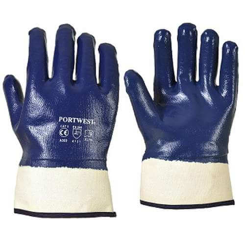 A302 PORTWEST Fulley DIPPED NITRILE SAFETY CUFF GLOVE