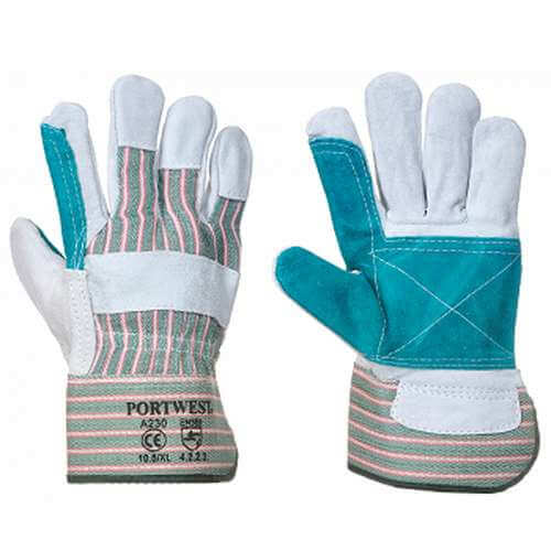Leather rigger double palm gloves