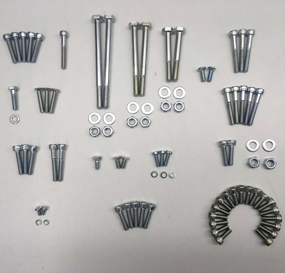 Ducati 100/125/160 zinc plated engine fasteners set (narrow case)