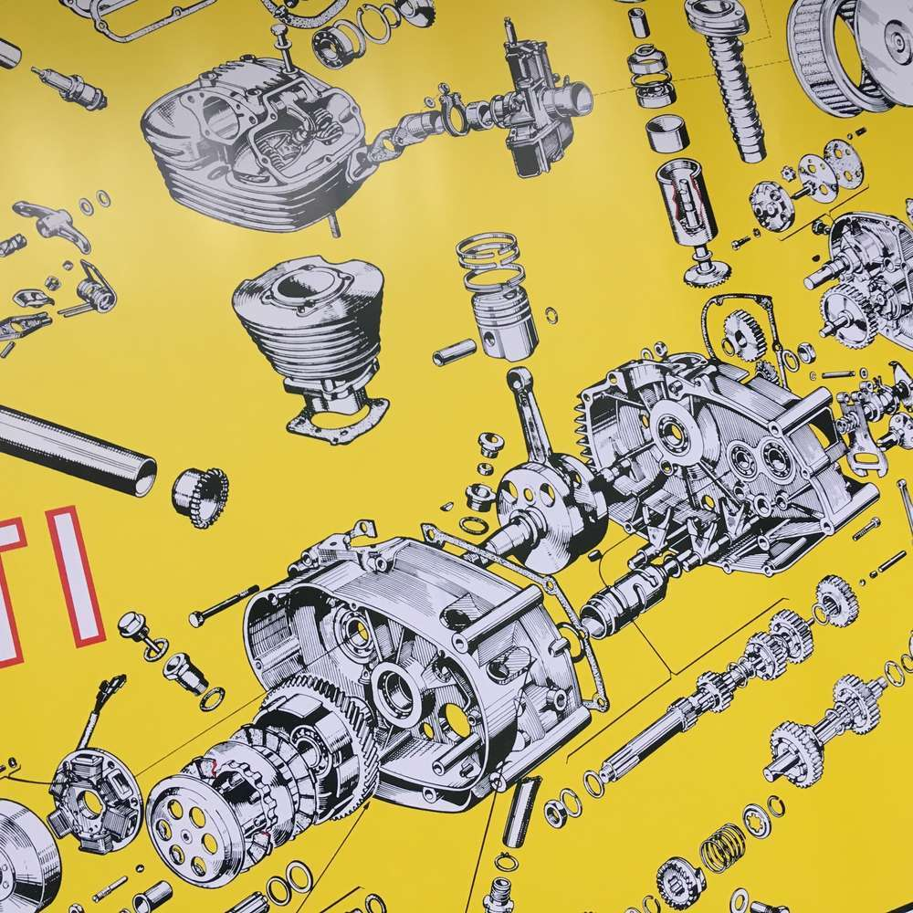 Ducati wide case engine poster
