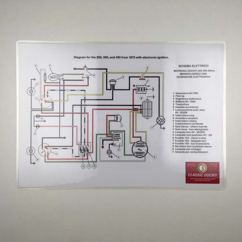 Laminated wiring diagram Electronic ignition  (wide case)