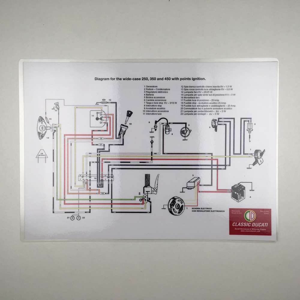 Laminated wiring diagram points ignition  (wide case)