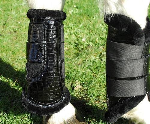 Mock Croc Patent Brushing Boots