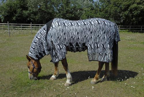 Sahara Full Neck Fly Rug Sheet With Side Skirts-Zebra