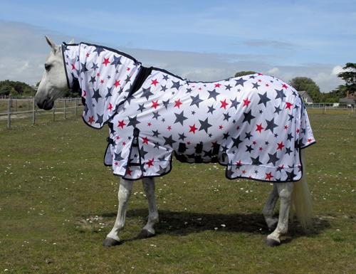 Sahara Star Print Full Neck Fly Rug Sheet With Side Skirts
