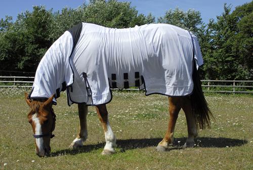 Sahara Full Neck Fly Rug Sheet With Side Skirts - White