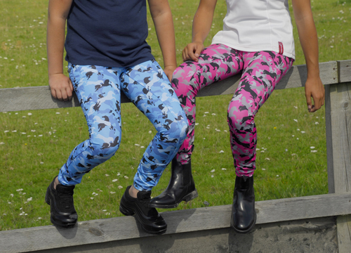 Children's Silicone Full Seat Riding Tights -Pony Print