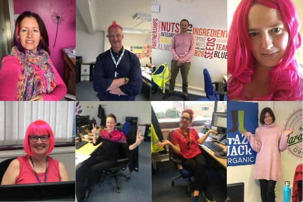 Community Foods staff taking part in Wear it Pink