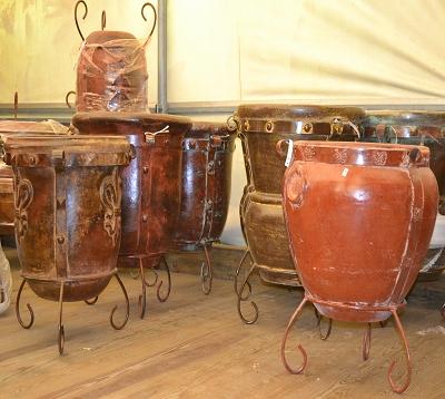 Pot terre cuite avec support fer forgé
