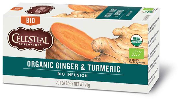 Sunita Fine Foods Celestial Seasonings Organic Ginger & Turmeric Herbal Tea