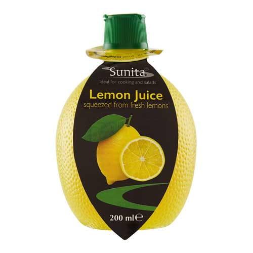 Sunita Fine Foods Lemon Juice 200 ml Squeezy Bottle