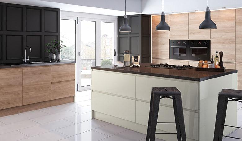 Pronto Natural Elm Malton Cream Gloss Lacarre Kitchen