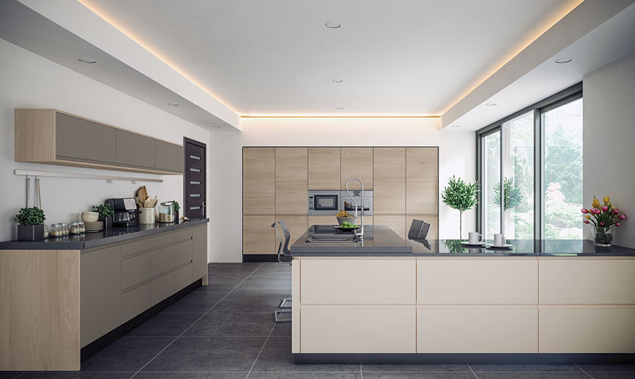 Pronto Rothwell Supermatt Cashmere, Supermatt Dust Grey, Malton Stone Elm Kitchen