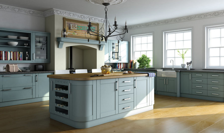 Bella Paintable Shaker Kitchen (Shown in Tropez Blue)