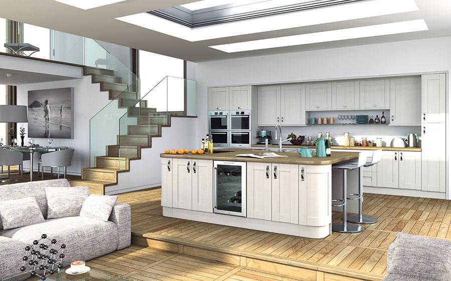 Pronto Woodgrain White Wilton Kitchen