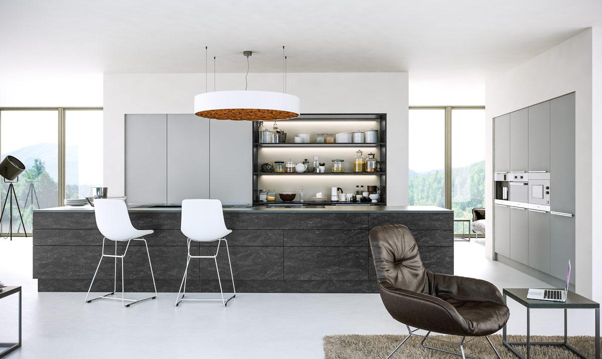 Zurfiz Supermatt Light Grey, Evora Stone Graphite Kitchen