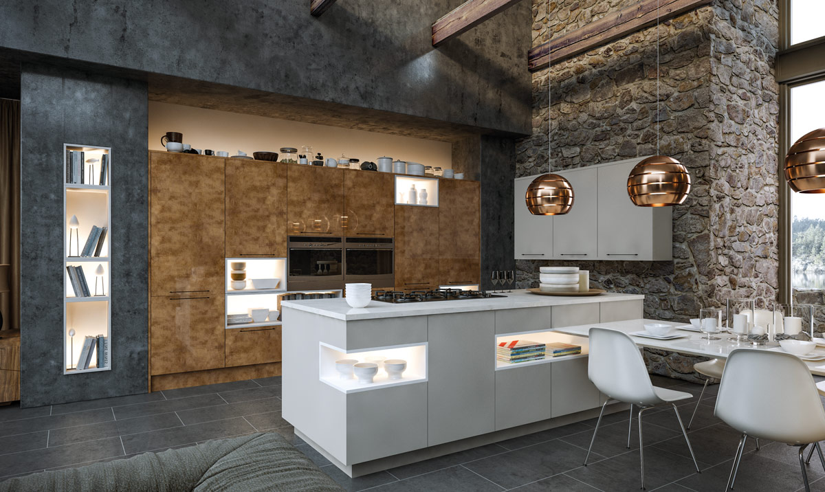 Zurfiz Ultragloss Copperleaf, Supermatt Dust Grey Kitchen