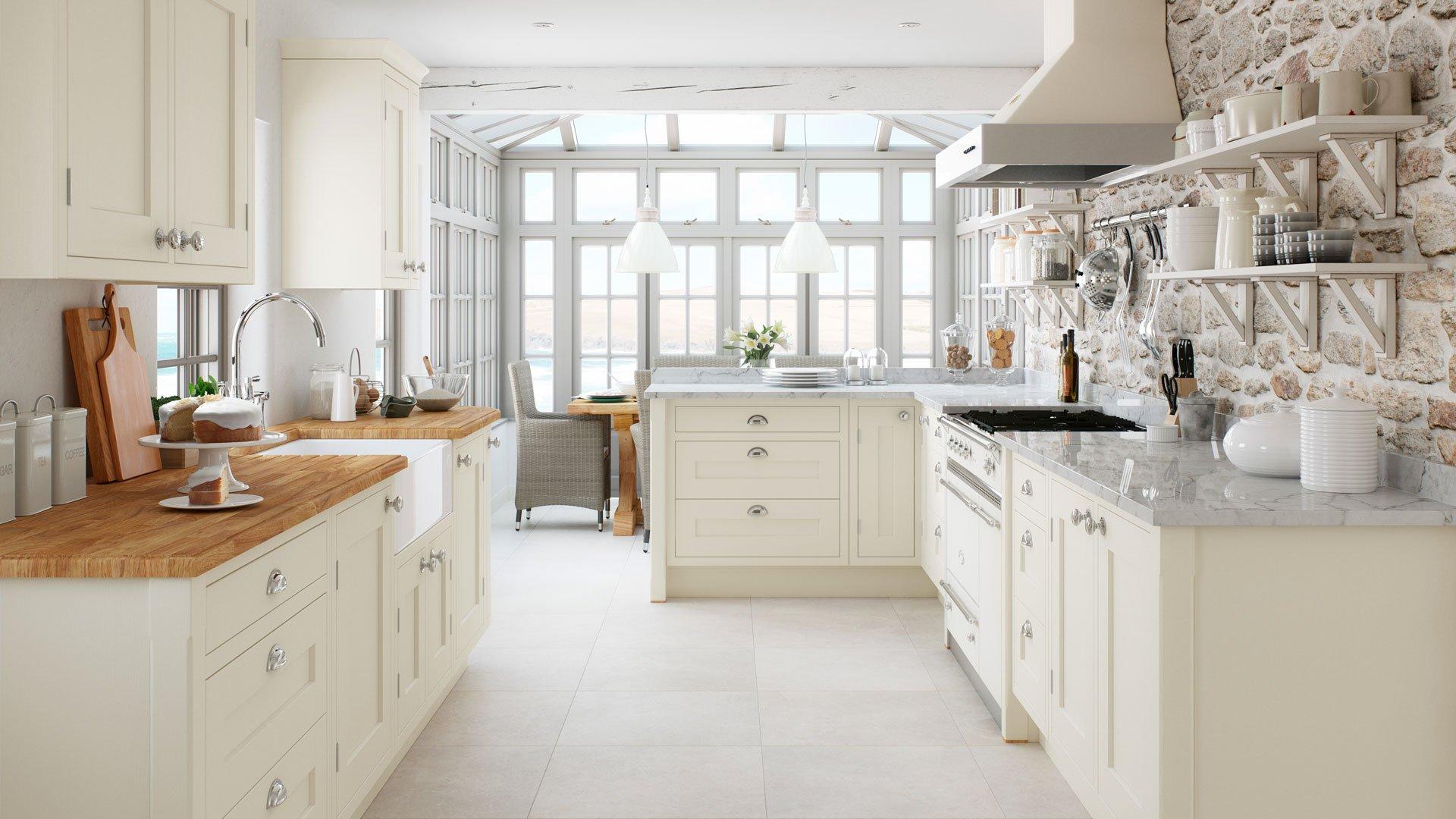 Multiwood Baystone Cream Shaker In-Frame Kitchen