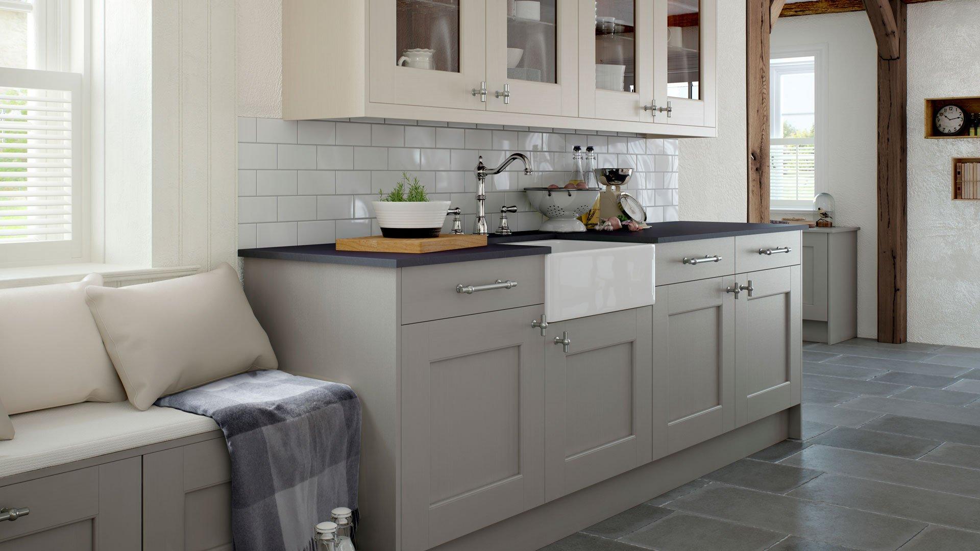 Multiwood Bowfell Bespoke Painted - Mussel  Haze Kitchen