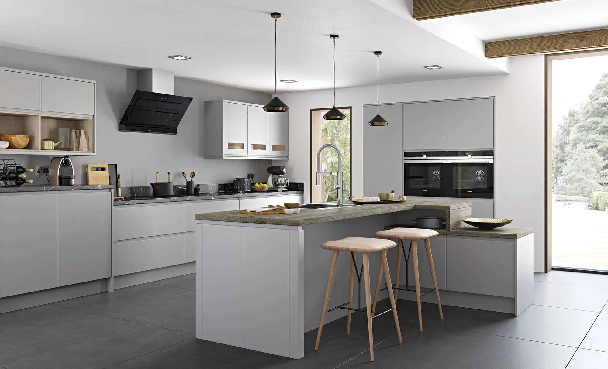 Uform Strada Matte Light Grey Kitchen