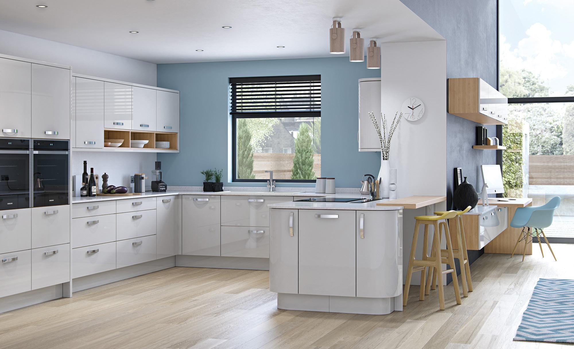 Uform Zola Gloss Light Grey Kitchen