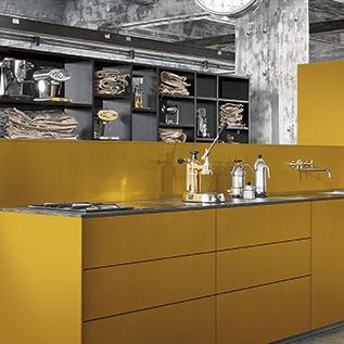 Schuller Next125  NX 500 Saffron yellow satin kitchen