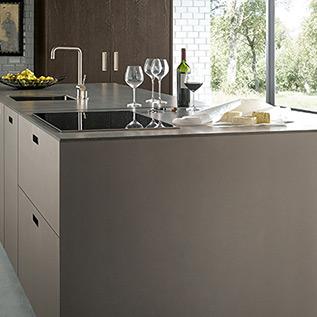 Schuller Next125  NX 902 Glass matt platinum metallic kitchen
